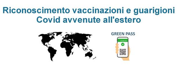 Richiesta riconoscimento vaccinazioni e guarigioni Covid avvenute all'estero